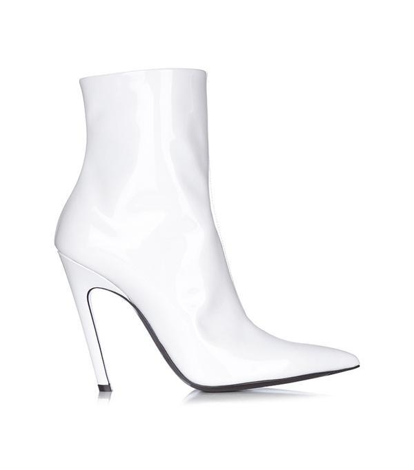 Balenciaga Slant-Heel Patent-Leather Boots