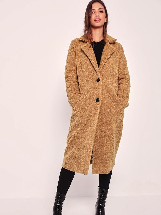 Missguided Longline Faux Shearling Coat Camel