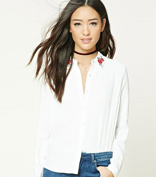 Forever21 Floral Embroidered Shirt