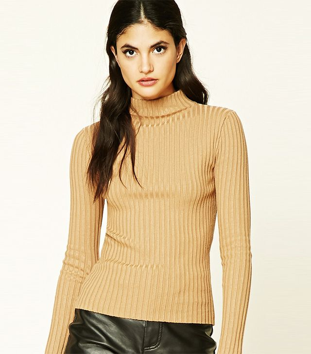 Forever21 Ribbed Mock Neck Top