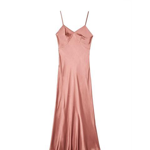 Sonnet Maxi Silk Satin Slip in Dusk Pink