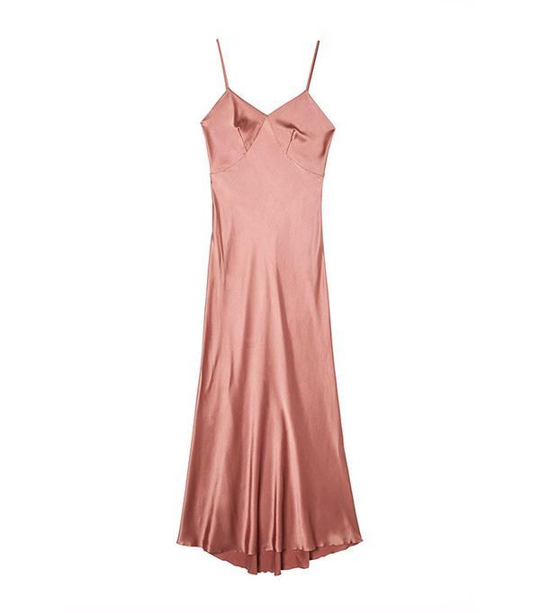 Three Graces London Sonnet Maxi Silk Satin Slip in Dusk Pink