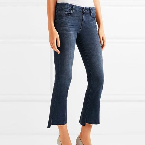 Le Crop Mini Frayed Mid-Rise Bootcut Jeans