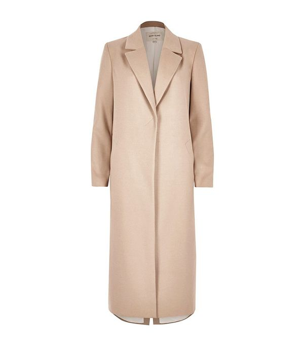 River Island Blush Pink Tailored Duster Overcoat