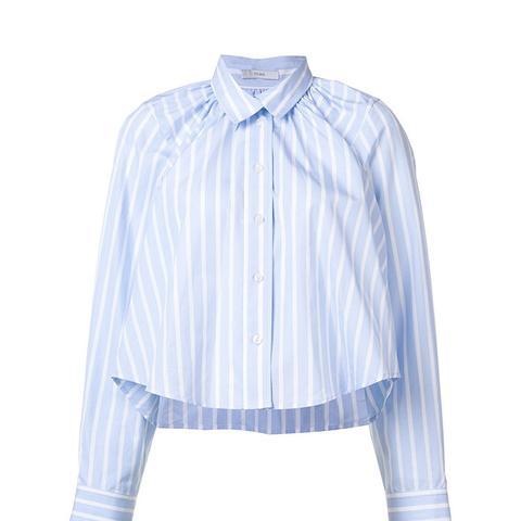 Oversized Cropped Gathered Shirt