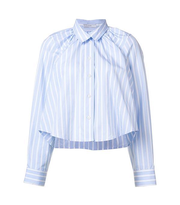 Tome Oversized Cropped Gathered Shirt