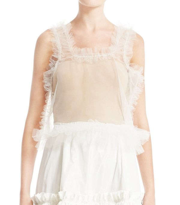 Molly Goddard Sid Frilled Tulle Crop Top