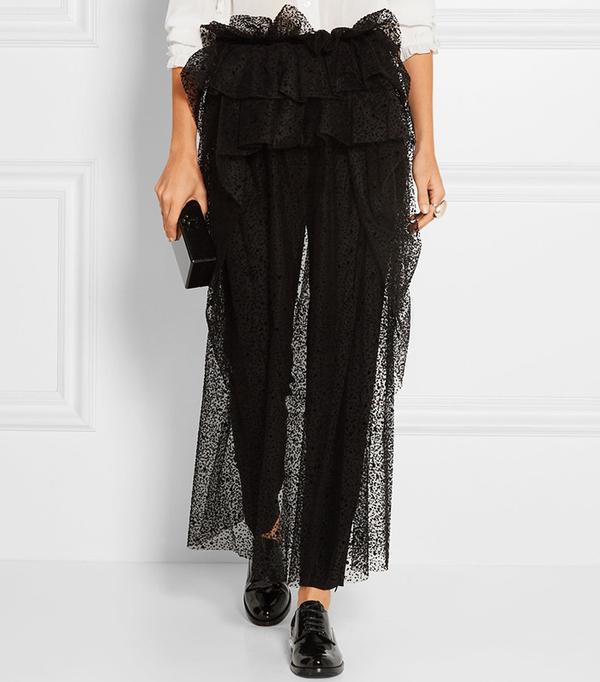 Isa Arfen Layered Flocked Tulle Midi Skirt