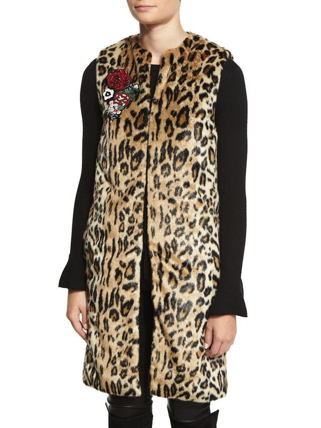 Alice + Olivia Jade Leopard-Print Faux-Fur Vest