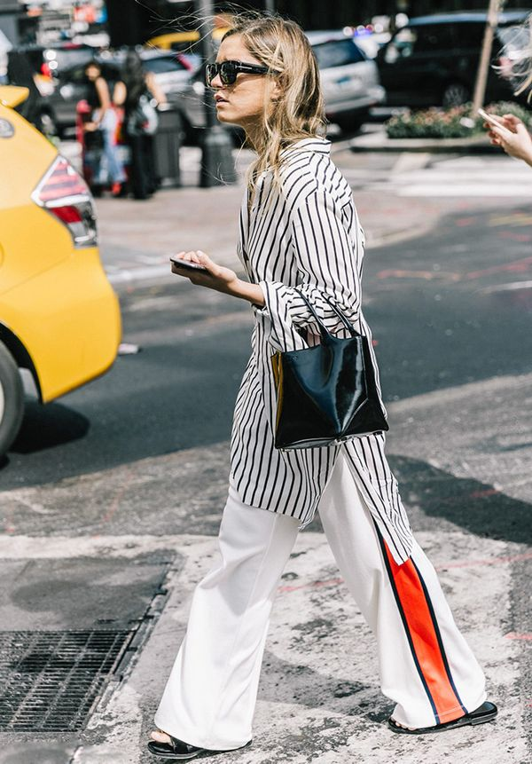 The wide-leg style gives track pants an even more forward feel—especially with slide sandals.