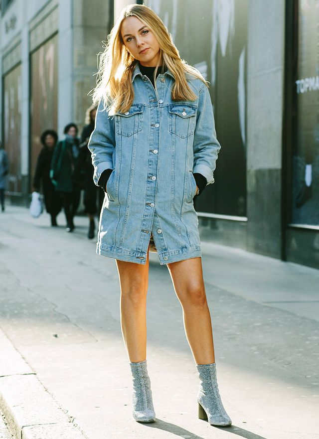On Carla Webster: Topshop Moto Oversized Long Line Jacket(£55), Blouson Sleeve Funnel Jumper(£25) andMartha Glitter Sock Boots(£69). WHO WHAT WEAR...