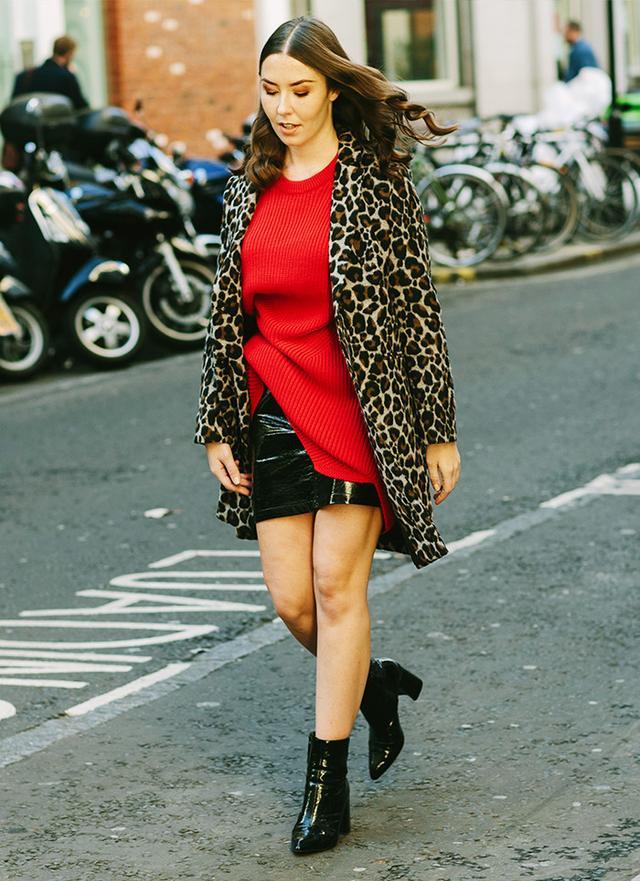 On Charlotte Thomas: Topshop Leopard Print Coat(£85),Oversized Jumper Dress(£36), Black Vinyl Miniskirt(£45) and Heart Patent Flare Heel...