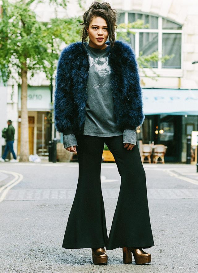 On Alva Mackenzie: Topshop Marabou Feather Jacket(£150) andHot Stuff Platform Boots(£69); And Finally Kurt Cobain Long Sleeve Tee(£30); Topshop Boutique...