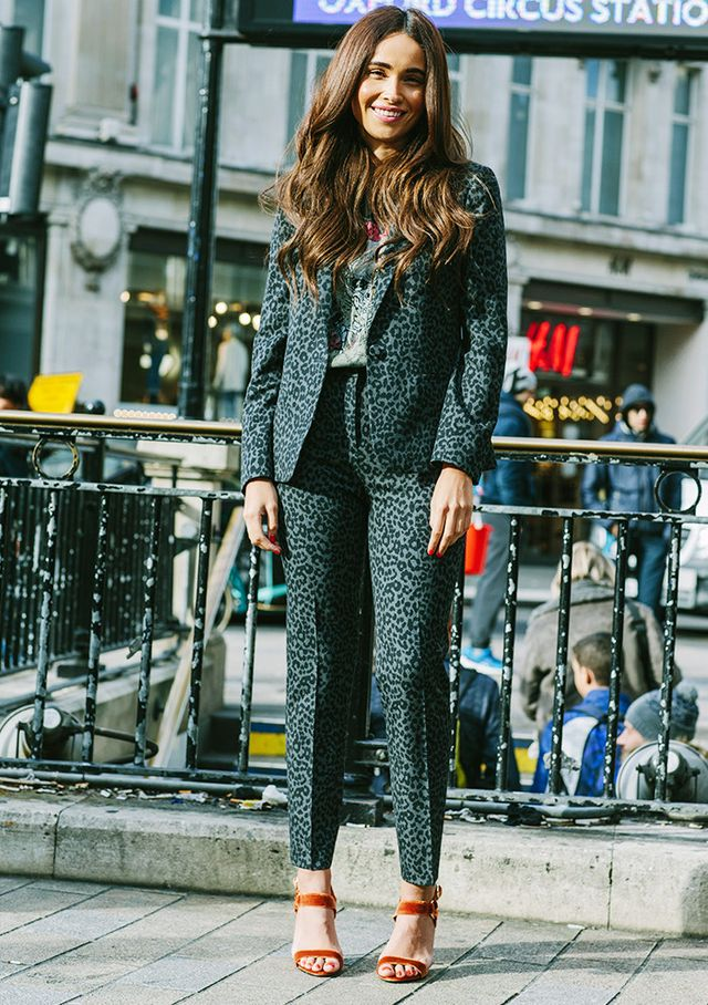 On Yasmin Burrows: Topshop Animal Suit Jacket(£65), Animal Print Cigarette Trousers(£35) and Renee Velvet Sandals(£46); And Finally Metallica Nibbled...