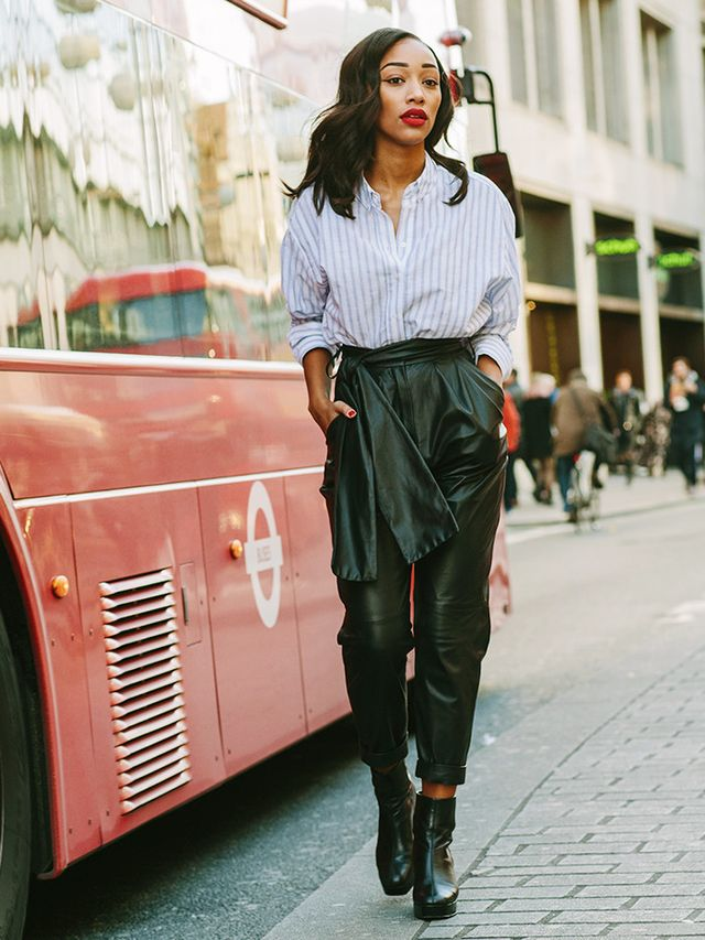 OnShereen Assopiah: Topshop Mensy Oversized Striped Shirt(£34) and Margarita Platform Boots(£79); Topshop Boutique Leather Carrot Trousers(£225). WHO...