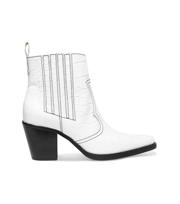 Callie Textured-leather Ankle Boots