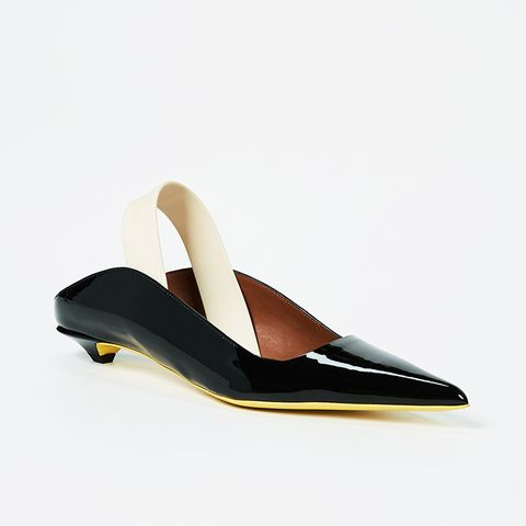 Rubber Strap Patent Kitten Heel Flats