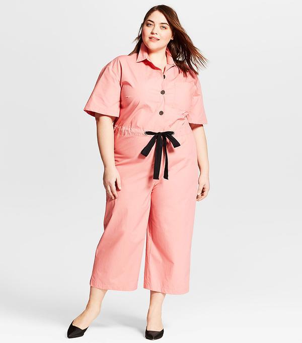 Plus Size Short Sleeve Belted Jumpsuit