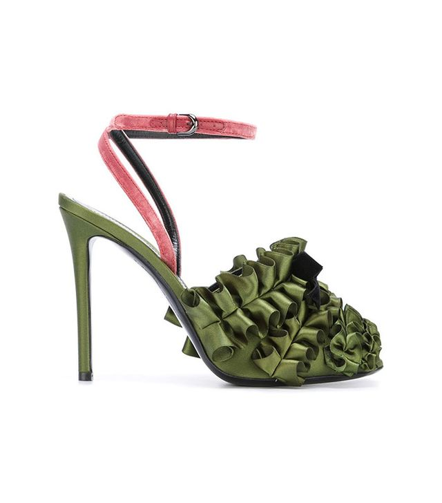Marco De Vincenzo Ankle Strap Ruffled Pumps