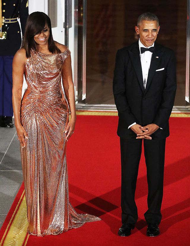 Michelle Obama wearing sparkly versace gown