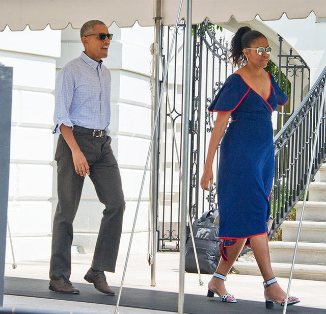 Michelle Obama wearing Tory Burch dress.