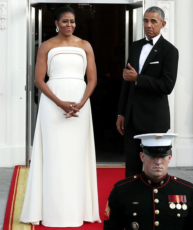 Michelle Obama wearing Brandon Maxwell gown