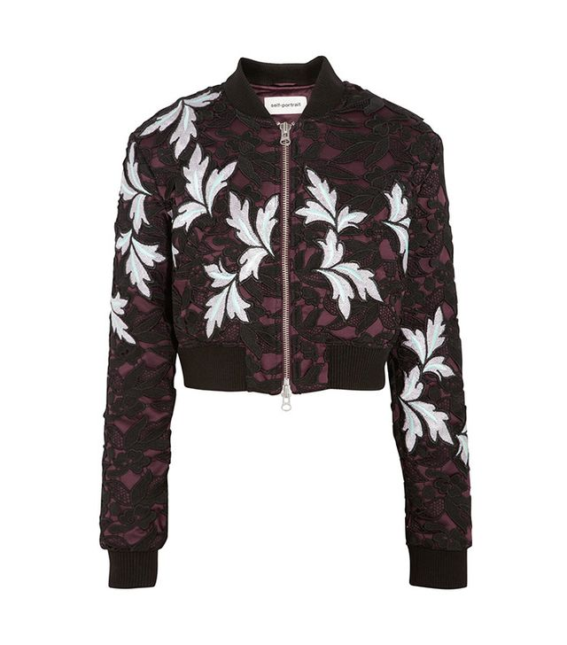 Self-Portrait Cropped Guipure Lace and Satin Bomber Jacket