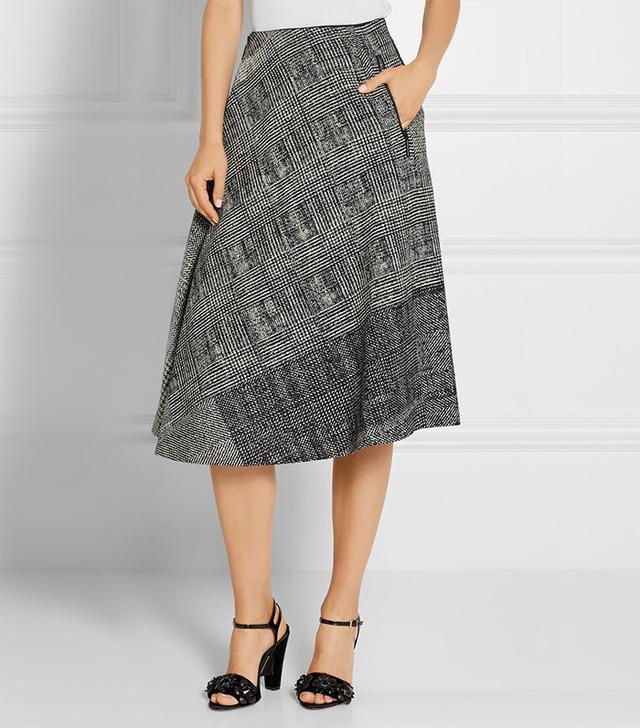 Jason Wu Asymmetric Wool-Jacquard Skirt