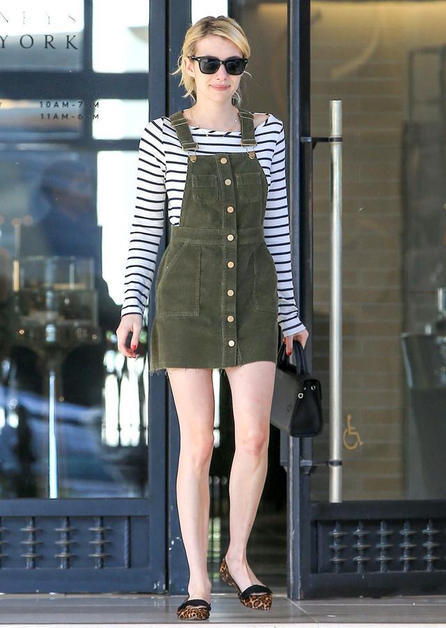 On Emma Roberts: Warby Parker Winston Sunglasses($95); ASOS dress; Amour Vert Francoise Nautical Long Sleeve Top($88);Diorbag;Ann Taylor Tilda...