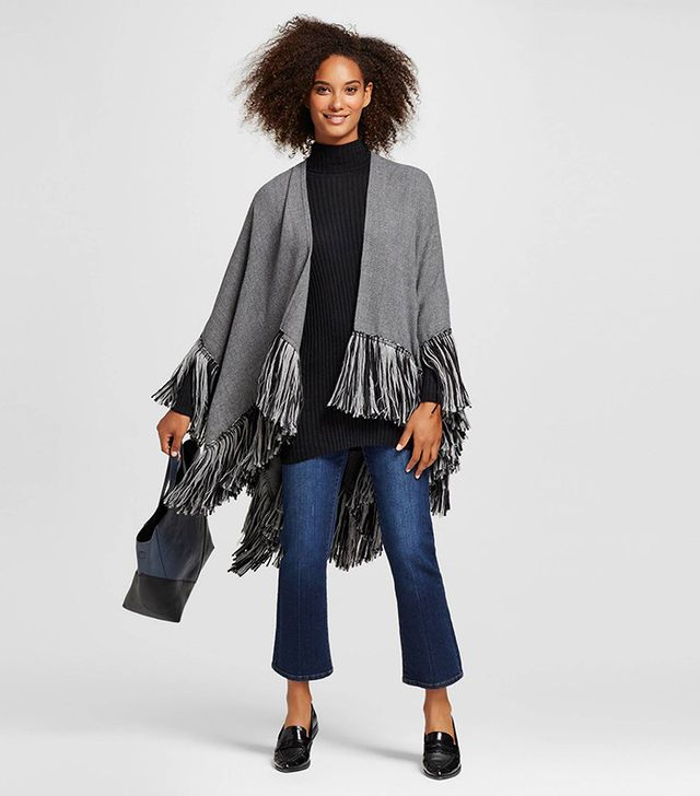 Who What Wear Fringe Poncho Gray