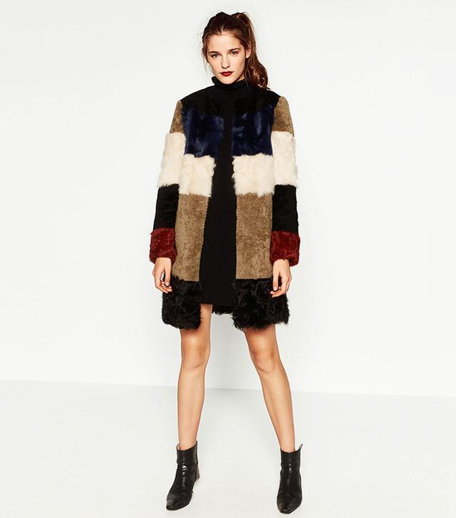 Zara Leather Patchwork Coat