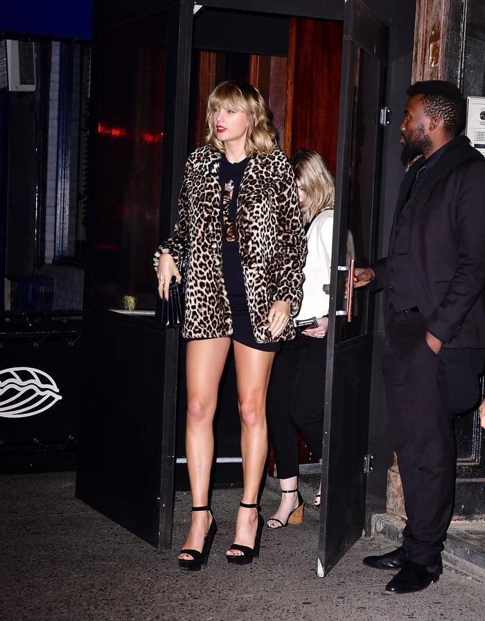Taylor Swift wearing leopard coat and cat dress