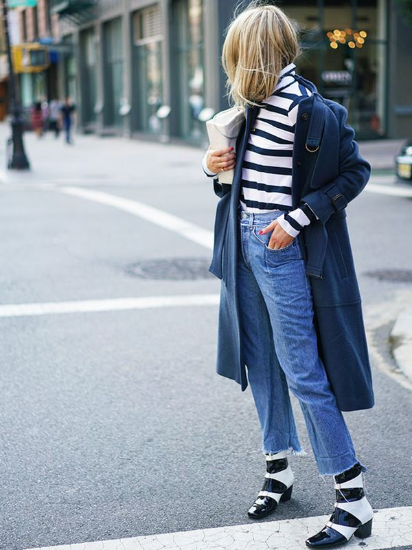 Style Notes: Camille Charrière can always be relied upon for an excellent denim moment. The artful collection of a slightly slouched-off-the-shoulder coat, alternative Breton sweater and...