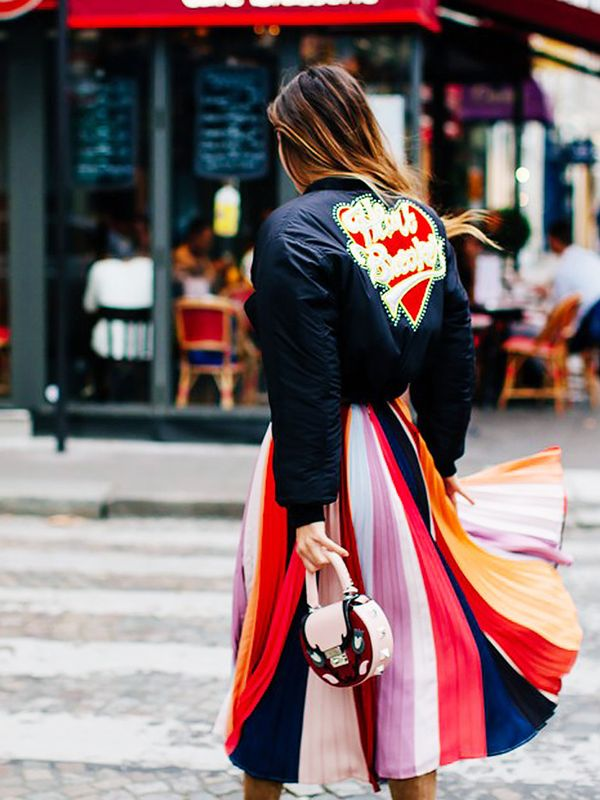 Style Notes: We like bombers, and we like pleated skirts. We definitely like that Doina Ciobanu has combined the two (and a rainbow of colours) to provide a fantastic—and easy—new formula.