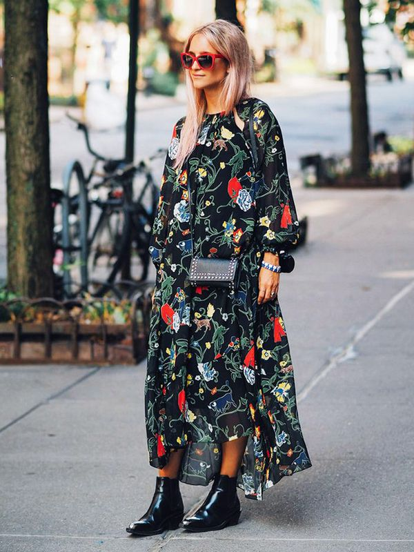 Style Notes: It's time to put pastels and sweet shades aside in favour of darker hues and more dramatic prints like this stunning Tibi dress seen on Charlotte Groeneveld. She's a woman after our...