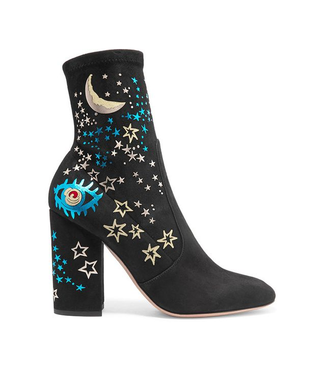 Valentino Printed Suede Ankle Boots