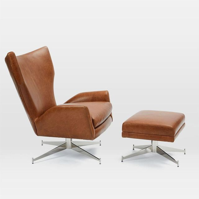 West Elm Hemming Leather Swivel Armchair
