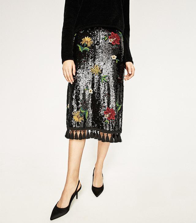 Zara Midi Embroidered Skirt