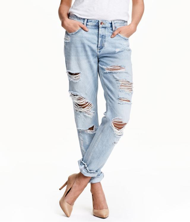 H&M Boyfriend Low Ripped Jeans