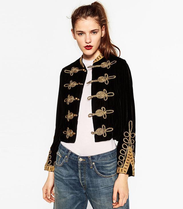 Zara Military Velvet Toggle Jacket