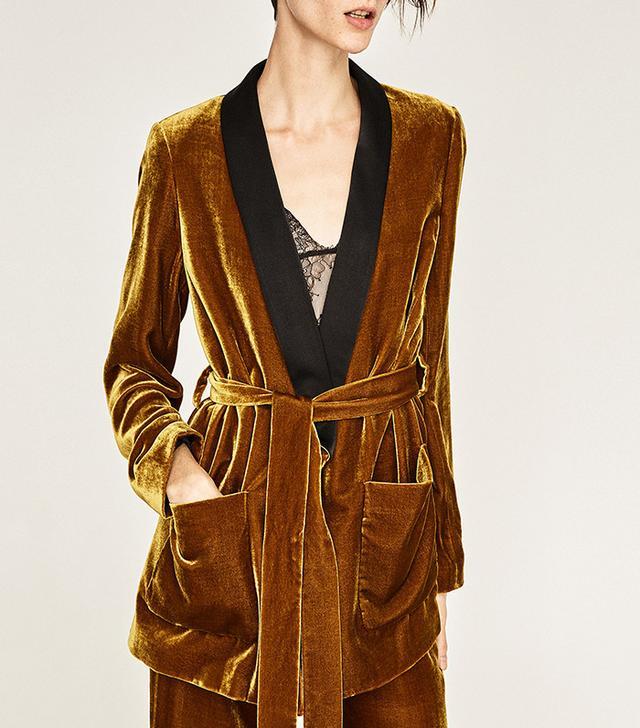 Zara Velvet Jacket with Belt
