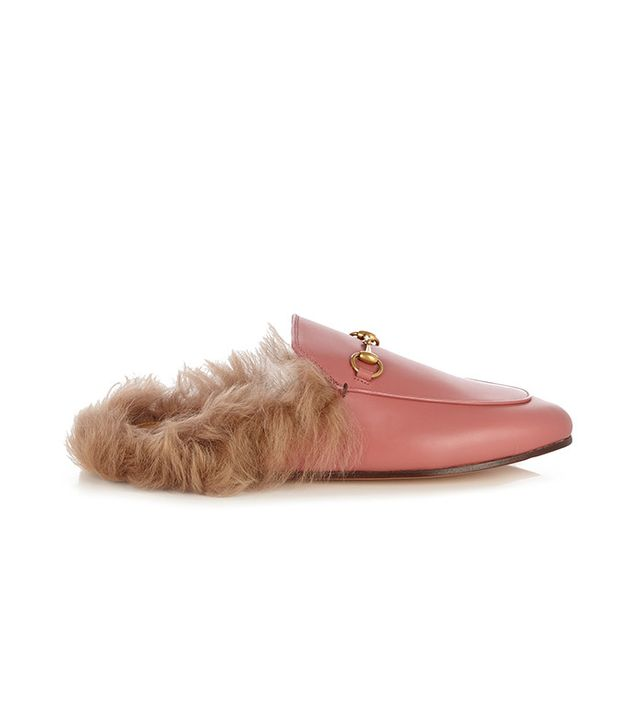 Gucci Princeton Fur-Lined Leather Backless Loafers