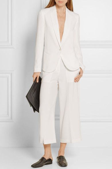 Theory Robiva Crepe Blazer ($445) and Ambrisia Cropped Crepe Wide-Leg Pants ($335)