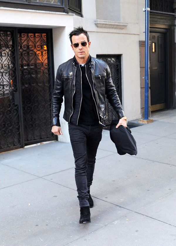 Leather Jacket + Zip Sweater + Trousers + Boots