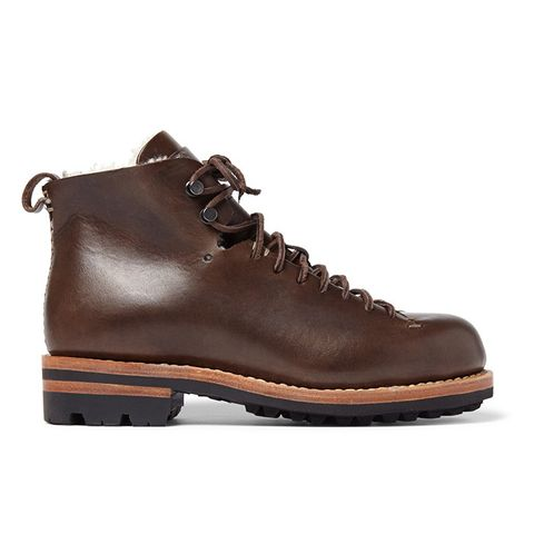 Hiker Shearling-Trimmed Leather Boots