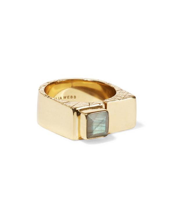 Cornella Web Slized Gold-Plated Labradorite Ring