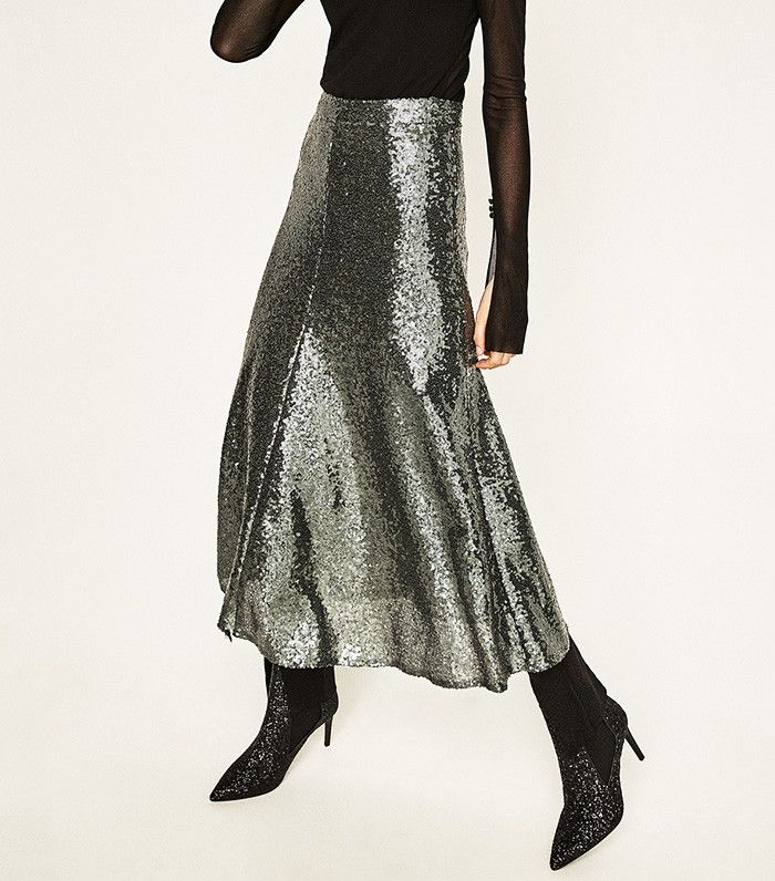 Zara Sequinned Midi Skirt