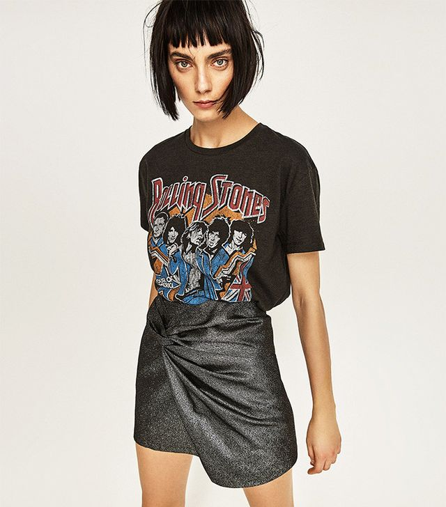 Zara Rolling Stones Cropped Top