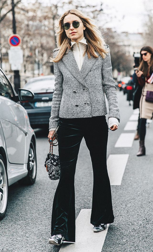 Pernille Teisbaek wearing blazer and velvet pants