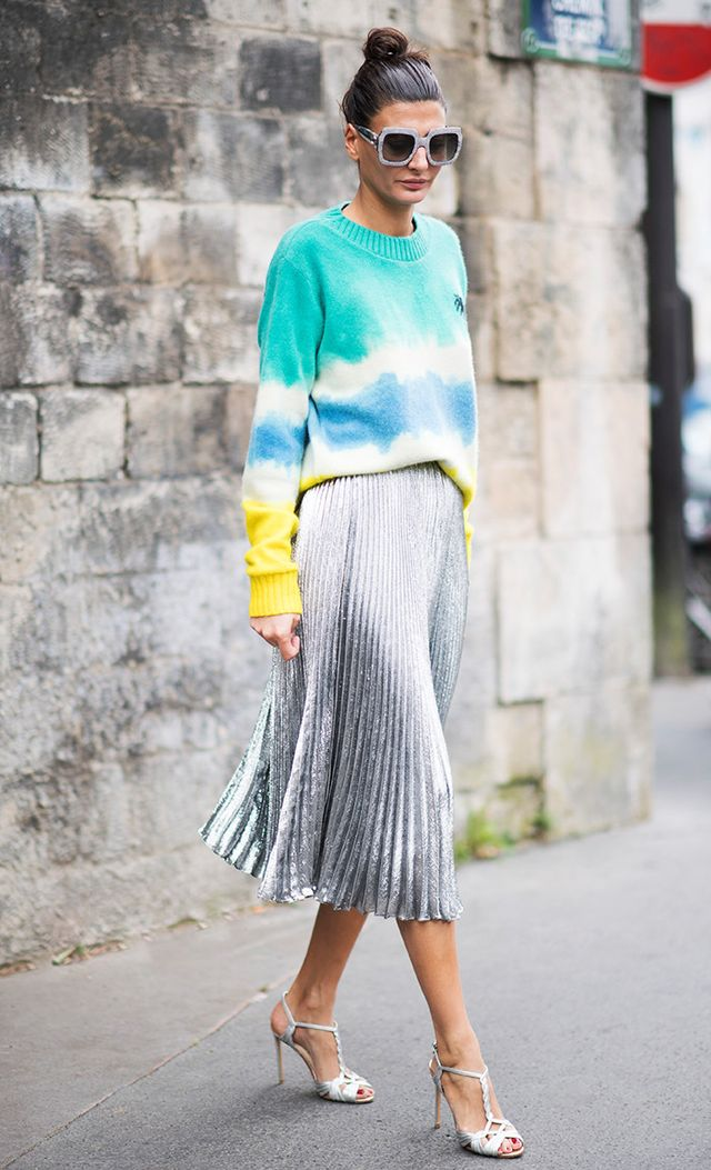 silver skirt street style